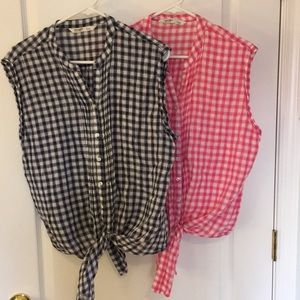 Linen/cotton tie-blouses, 2-pack, navy & pink